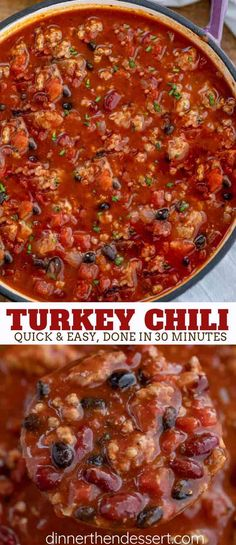 Turkey Chili is hearty and filling made with ground turkey crushed tomatoes beans and spicy seasoning in ONE POT ready in under 60 minutes Chilli Recipes, Crockpot Recipes, Soup Recipes, Cooking Recipes, Ground Turkey Chili, Ground Turkey Recipes, Soup With Ground Turkey, Ground Chicken Chili, Easy Turkey Chili