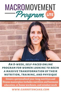Are you looking for some motivation, but you can't commit to a full coaching program? Macro Movement Lite is an 8-week, self-paced course. You'll get everything you need to create your own year-long nutritional masterplan as well as 8 weeks worth of efficient, muscle-building workouts. Check out the program! Carrots N Cake, Muscle Building Workouts, Body Composition, Online Programs, Training Plan, 8 Weeks, Build Muscle, Looking For Women, Metabolism