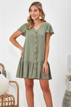 The Nancy Linen Dress in Khaki is your perfect day dress for a summer of fun! Casual Clothes, Casual Outfits, Cute Wedges, Khaki Dress, Your Perfect, Workout Shorts, Day Dresses, Frocks, Stretch Fabric