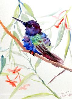 Hummingbird original watercolor painting 12 X 9 in by ORIGINALONLY, $24.00 Watercolor Bird, Watercolor Paintings, Diy Painting, Painting & Drawing, Hummingbird Moth, Humming Birds, Tropical Birds, Water Colors, Life Tattoos