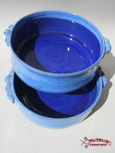 Set of Two Casserole Dishes  Boldly Blue by MudbugCreations, $42.00