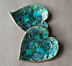 TWO Ceramic Ring Dishes edged in gold Peacock green by dgordon