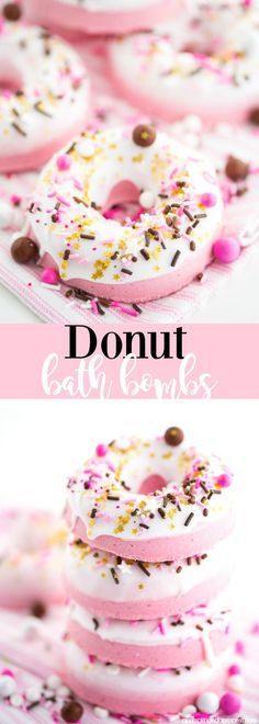 How to make donut bath bombs – DIY donut shaped bath bombs made with soap icing and sprinkles.