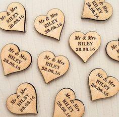 personalised wooden hearts wedding favor love by MantaMakesLtd
