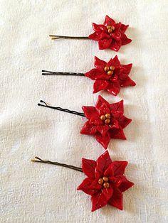Handmade Polymer Clay Holiday Christmas Red Gold Sparkle Poinsettia Flower Hair Clip Bobby Pin Hair Accessory