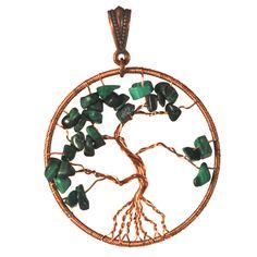 Malachite Tree-of-Life Pendant $43.00 #handmade #thecraftstar