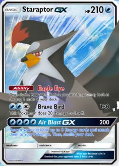 Pokemon Sun and Moon Staraptor GX Custom Card by KryptixDesigns on @DeviantArt