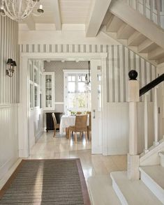 A beautiful house in the Spanish Basque Country Striped Walls, Basque Country, Villa, Home Decor Inspiration, Inspiration Boards, Decoration, Beautiful Homes, Interior Decorating, Decorating Ideas