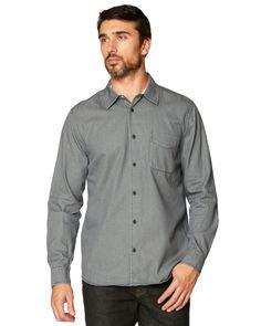 ec2f8685 Sendai, Black Cotton, Gray Color, Shirt Dress, Grey, Long Sleeve,