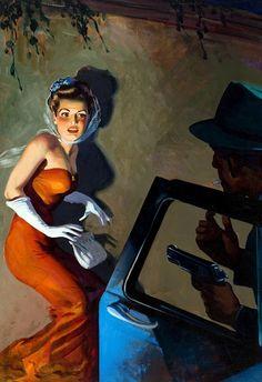 Pulp cover art by Hugh Joseph Ward.  Man woman dame pistol car danger