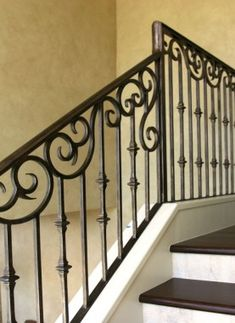 Cantera Doors provides hand-forged, custom-made iron staircase & balcony railings for your home in Texas & Florida. Staircase Railing Design, Interior Stair Railing, Wrought Iron Stair Railing, Balcony Railing Design, Home Stairs Design, Balkon Design, Iron Balcony, Aluminium, Architecture