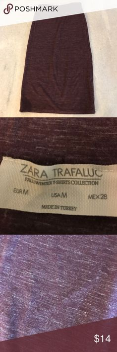 Zara Maroon Pencil Soft, stretchy, jersey fabric! Great condition. This was always a way for me to look professional and still be comfy! Maroon with white threading detail throughout. Zara Skirts Pencil