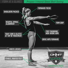 Form at a Glance: Steel Club Swing Exercise Kettlebell Circuit, Kettlebell Training, Kettlebell Swings, Kettlebell Challenge, Sandbag Workout, Squat Workout, Workout Tips, Workout Motivation, Gym Workouts