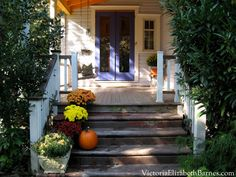 Our old Victorian porch, decorated for fall. Victorian Porch, Victorian Homes, Kitchen Sliding Doors, Classic House, Old Houses, The Great Outdoors, Curb Appeal, Outdoor Spaces, Restoration