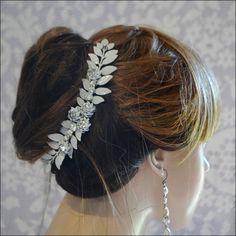 Luxe #Bohemian #Bride#Grecian Leaf Rhinestone #Hair Piece Leaves #Boho Bridal #Wedding Bride Hairpiece Woodland Winter Outdoor $150