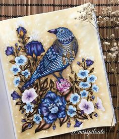 One of my favorite pictures in Dagdrömmar  I wanted to color it for a long time and the beautiful version of @audreymog makes me want to color it!  Many thanks to my dear @faynnn and @drawing_n_coloring_  _______________________________________________________ #flowers #bird #blue #color #coloring #coloringbook #adultcoloringbook #arttherapy #watercolor #pencil #pen #dagdrömmar #hannakarlzon #misspiloute
