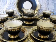 Vintage Royal Albert Elegant Teaset for Six, Black, Cream and Gold, 22 Pieces by TheWhistlingMan on Etsy