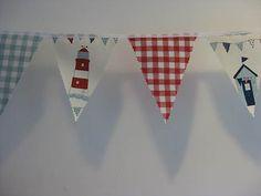 BUNTING ~ Nautical Maritime & Laura Ashley Gingham fabric flags 4mtr/13ft | eBay