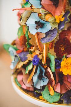 Cake Art Rainbow Flowers Stylish Festival Farm Garden Wedding http://www.lisadawn.co.uk/