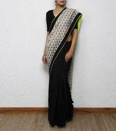 Black & Off-White Chanderi Cotton Silk #Saree