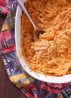 A recipe for spicy, yet creamy, buffalo chicken dip. It's got great flavor and big chunks of chicken - you're sure to devour it!