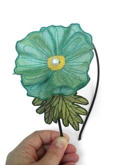 Light Turquoise Icelandic Poppy Flower Headband by TheFaerieMarket