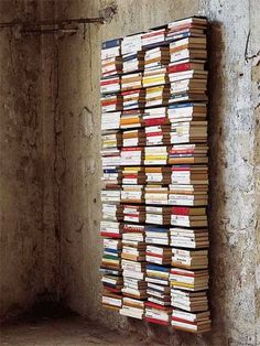 It looks like a wall of floating books.