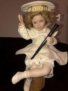 """Papa's Little Sailor"" Porcelain Doll By Maud Humphrey  | eBay Reborn Toddler Girl, Porcelain Dolls For Sale, Yankees Hat, Baby Fairy, Bride Dolls, Realistic Dolls, Karen Scott, Fairy Dolls, Sailor"