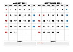 Download free August September 2021 Calendar Printable, 2 month calendar in one page with and observances in United States Free Calendar, Calendar Printable, 2021 Calendar, Election Day, First Page, September, United States, Pdf, Printables