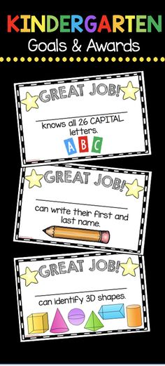 Adorable printable awards for kindergarten Common Core standards - write your students names when they master their skills and goals - math - ELA - reading - language arts