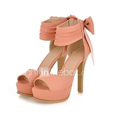 Women's Shoes Wide Ankle Strap Stiletto Open Toe Sandals In Candy Colors With A Bow At the Counter 2017 - £29.39
