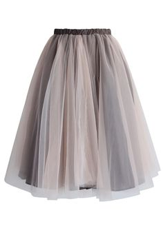 Amore Mesh Tulle Skirt in Taupe - Retro, Indie and Unique Fashion