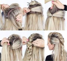 45 + Quick & Easy Schöne Frisuren in 2 Minuten ! , quick hair style 45 + Quick & Easy Schöne Frisuren in 2 Minuten Easy And Beautiful Hairstyles, Pretty Hairstyles, Girl Hairstyles, Braided Hairstyles, Simple Hairstyles, School Hairstyles, Viking Hairstyles, Faux Hawk Hairstyles, Girls Hairdos