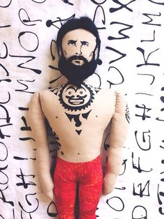 Black Beard Doll with polynesian tattoo Textile от RockandDolls, $100.00