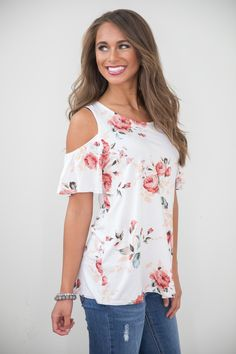 Show Your Love Floral Blouse White