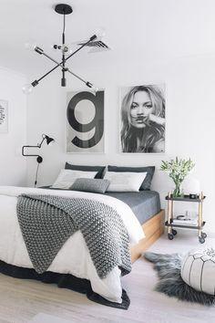 Scandinavian Decor: The Best Scandinavian Bedroom Design Ideas for your Scandinavian Home Decor Small Master Bedroom, Modern Bedroom, Bedroom Decor, Bedroom Ideas, Bedroom Inspiration, Monochrome Bedroom, White Bedrooms, Bedroom Interiors, Bedroom Black