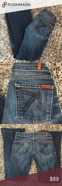 """Dojo 7 for all Mankind Jeans """"7 Pocket"""" Flare 27 *medium blue  *gently worn general wear no real issues or flaws  *cotton w/ 2% Lycra  *approx measurements  *inseam 30"""" length 37.5"""" -they have been professionally hemmed 7 For All Mankind Jeans Flare & Wide Leg"""