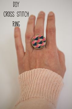 This DIY Cross Stitch Ring makes and old craft form modern!