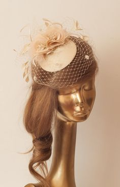 Bridal ChampagneNude FASCINATOR with BIRDCAGE by ancoraboutique, $125.00