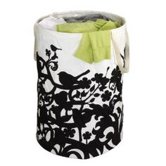Umbra crunch bird cotton canvas Round container - cute & foldable laundry basket