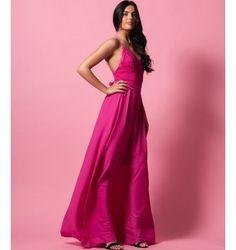 Ρομαντικό Μάξι Φόρεμα από Δαντέλα και Ζορζέτα - Φούξια