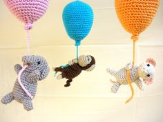 This balloons mobile has a fun, colorful design to keep your baby entertained. Ths crib mobile features 3 crocheted little animals hanging from the balloons (a monkey, a mouse, and an elephant). The balloons colors are pink, orange and turquoise. Baby Crib Mobile, Baby Cribs, Nursery Furniture, Nursery Decor, Newborn Gifts, Baby Gifts, Crochet Mobile, Nautical Nursery, Orange And Turquoise