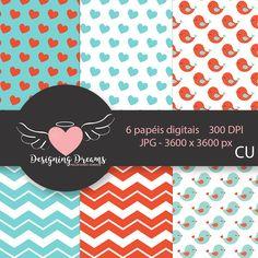 KIT DIGITAL LAMORE BIRD 01 PAPEIS + CLIPARTS+ESCALOPES - Cantinho do blog