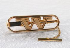 1970s Vintage Big and Bold Initial W Gold Tone by MyVintageHatShop