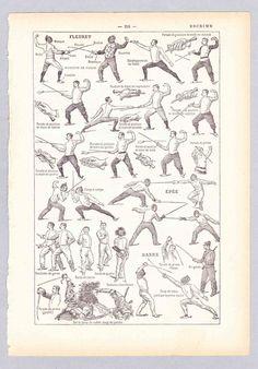 Francés antiguos encantador de impresión  Página de una edición de la década de 1920 de un francés enciclopedia. Grabado que muestra una variedad de maniobras técnicas en el arte de la esgrima de calidad. Incluye agarres y posiciones. Bueno como un recurso histórico Bueno para enmarcar o para todo tipo de proyectos de la papel periodo elaboración de scrapbooking etc..   TAMAÑO: aprox. 18 x 12 cm (7 x 4.75)  CONDICIÓN: teniendo en cuenta edad buenas imágenes son claras. el papel es muy bonito…