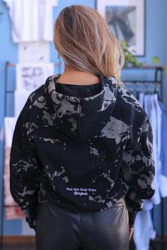 Black Long Sleeve Hoodie Bleach Tye Dye Smoke Gradient | Consttant Black Hooded Sweatshirt, Hooded Sweatshirts, Hoodies, Cold Weather Gear, Fit 4, Tye Dye, Bleach, Bomber Jacket, Smoke