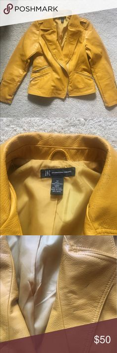 Yellow Leather Jacket INC International Concepts Mustard-yellow jacket. 3 front zip pockets. Zip cuffs. A few marks on the collar but can be removed with leather cleaner. 100% polyester. M fits like L INC International Concepts Jackets & Coats