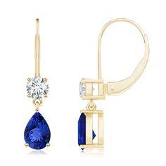 Pear Tanzanite and Round Diamond Drop Earrings