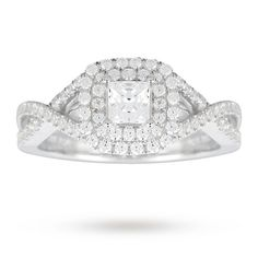 Canadian Ice Collection 1.09 Carat Total Weight Princess Cut Diamond Ring In 18 Carat White Gold