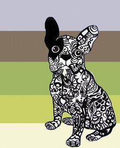 zentangles of dogs   ... Green - Neutral - Dog - Modern by Mallory Milke Art   CustomMade.com